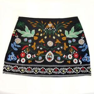 Anthropologie BBWM Woman Black Embroidered Skirt